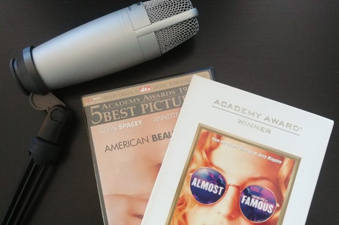 Almost Famous and American Beauty DVD cases with a microphone