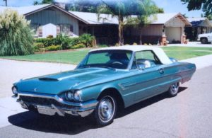 Blue 65 Thunderbird convertible
