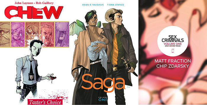 Comic covers for Chew, Saga, and Sex Criminals