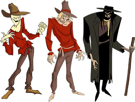 3 Scarecrow designs from Batman the Animated Series